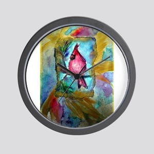 cardinal, bright, bird, art, Wall Clock