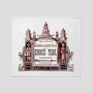 Antique Tea Ad Throw Blanket