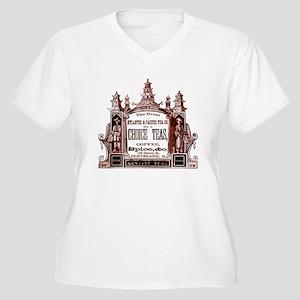 Antique Tea Ad Women's Plus Size V-Neck T-Shirt