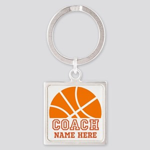 Basketball Coach Name Square Keychain