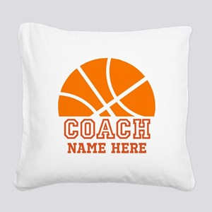 Basketball Coach Name Square Canvas Pillow