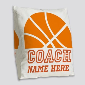 Basketball Coach Name Burlap Throw Pillow