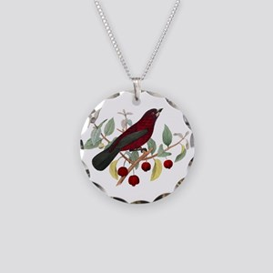 Red Bird Necklace Circle Charm