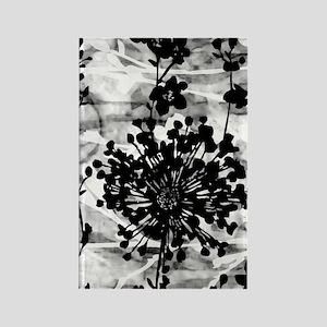 Black & White Floral Rectangle Magnet