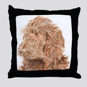 Chocolate Labradoodle 5 Throw Pillow