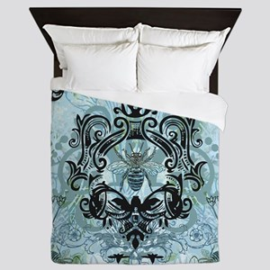 Blue Bee Garden Queen Duvet