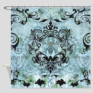 Blue Bee Garden Shower Curtain