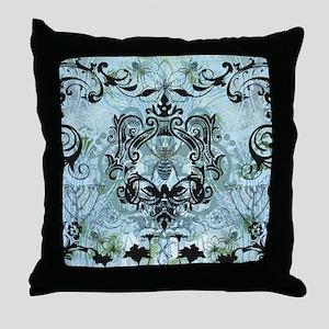 Blue Bee Garden Throw Pillow