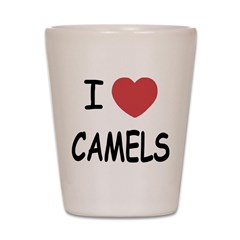 I heart camels Shot Glass