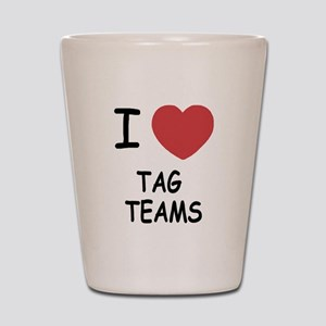 I heart tag teams Shot Glass