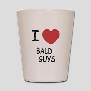 I heart bald guys Shot Glass