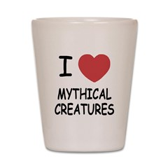 I heart mythical creatures Shot Glass