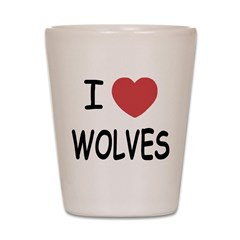 I heart wolves Shot Glass