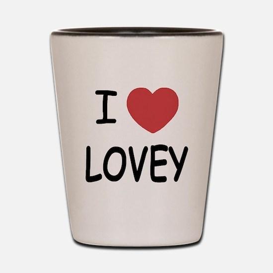 I heart lovey Shot Glass