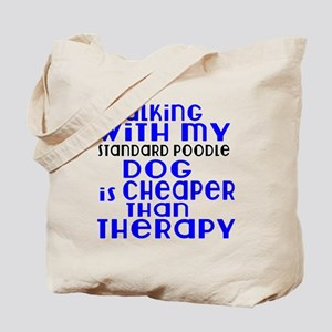 Walking With My Standard Poodle Dog Tote Bag