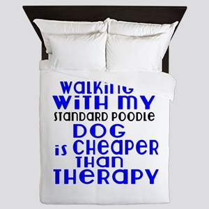 Walking With My Standard Poodle Dog Queen Duvet