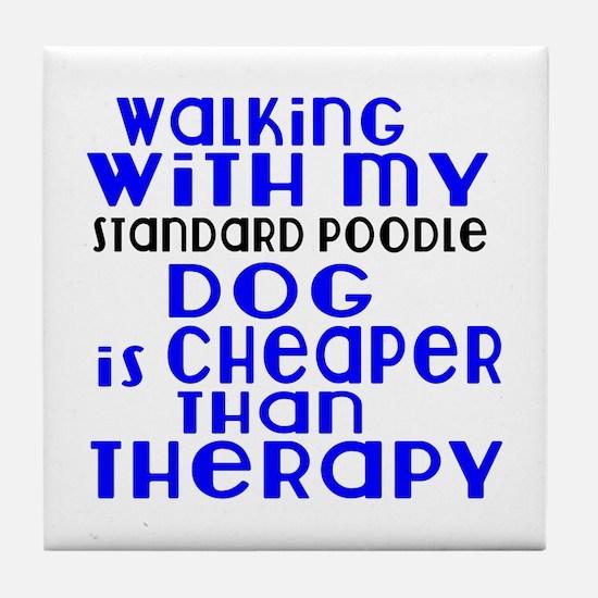 Walking With My Standard Poodle Dog Tile Coaster