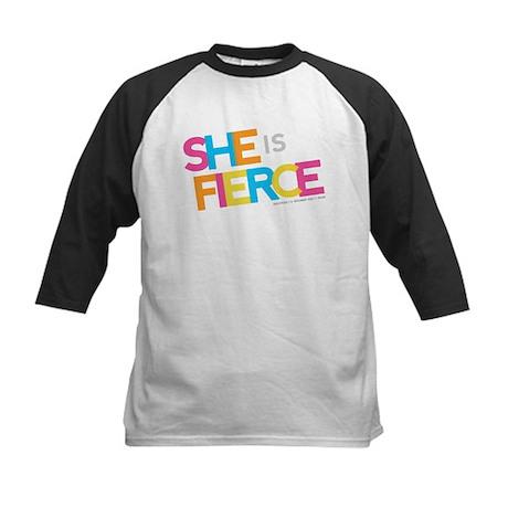 She is Fierce - Color Merge Kids Baseball Jersey