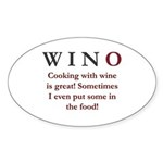 WINO Cooking With Wine... Sticker (Oval 50 pk)