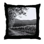 Black and White Autumn Vineyard Throw Pillow