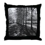 Black & White Tree Lined Vineyard Throw Pillow