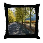 Turning Leaf, Tree Lined Vineyard Throw Pillow