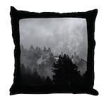 Black and White Coastal Fog Throw Pillow