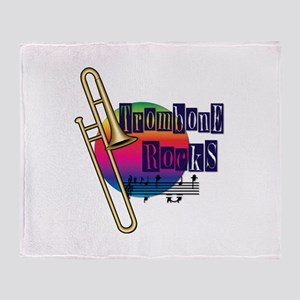 Trombone Rocks Throw Blanket