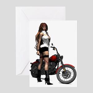 Road Angel Biker Girl Greeting Card
