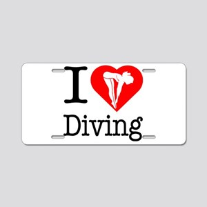 I Love Diving Aluminum License Plate