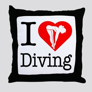 I Love Diving Throw Pillow