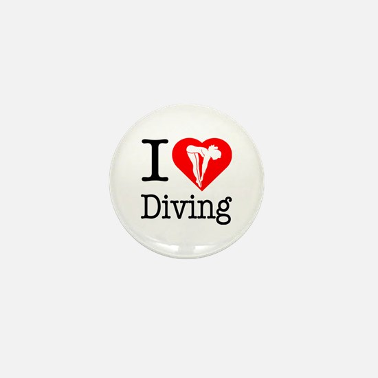 I Love Diving Mini Button