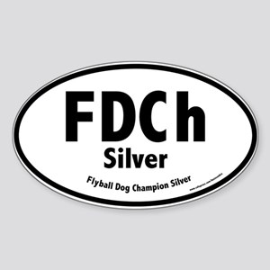 FDCh Silver, Flyball Dog Champ, 1,000 Oval Sticker