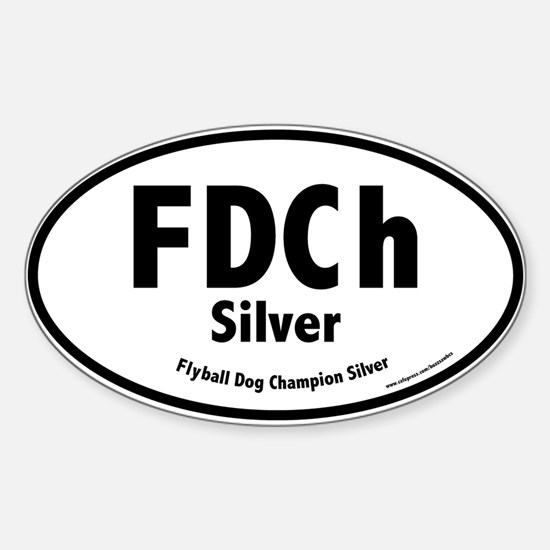 FDCh Silver, Flyball Dog Champ, 1,000 Oval Decal