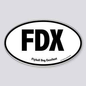 FDX, Flyball Dog Excellent, 100, Oval Sticker