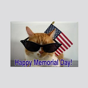 Cool Cat with American Flag Rectangle Magnet