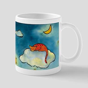 sleeping cloud cat with moon Mug