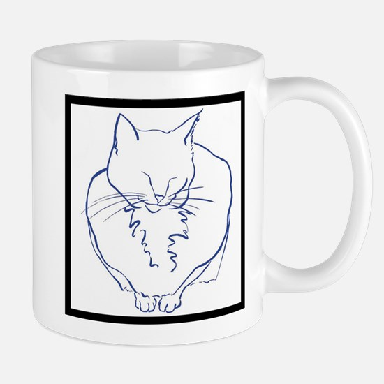 Contented Cat with Border Mug