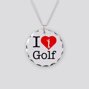 I Love Golf Necklace Circle Charm