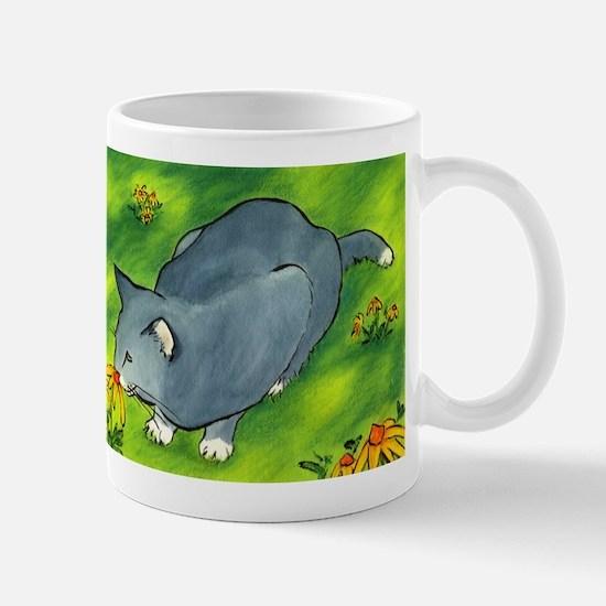 gray cat and flowers Mug