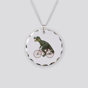 Cycling Tyrannosaurus Rex Necklace Circle Charm