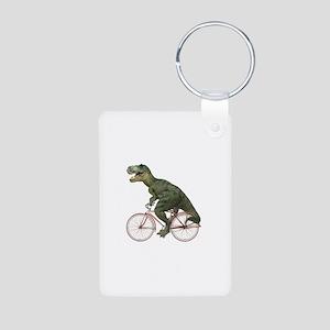 Cycling Tyrannosaurus Rex Aluminum Photo Keychain