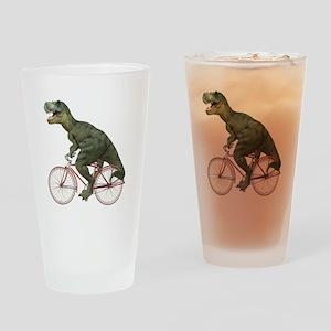 Cycling Tyrannosaurus Rex Drinking Glass
