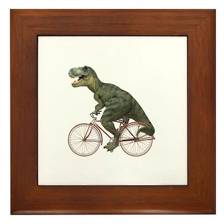Cycling Tyrannosaurus Rex Framed Tile