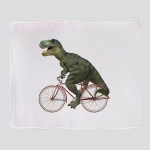 Cycling Tyrannosaurus Rex Throw Blanket