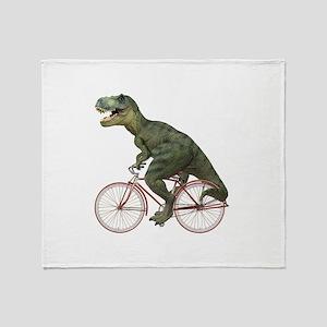 Cycling Tyrannosaurus Rex Throw Blanket