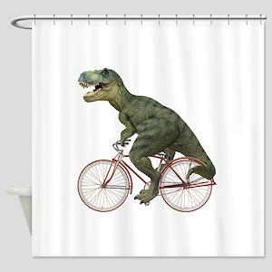 Cycling Tyrannosaurus Rex Shower Curtain