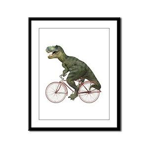 Cycling Tyrannosaurus Rex Framed Panel Print