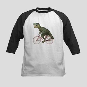 Cycling Tyrannosaurus Rex Kids Baseball Jersey