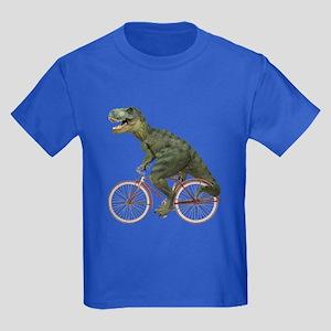 Cycling Tyrannosaurus Rex Kids Dark T-Shirt